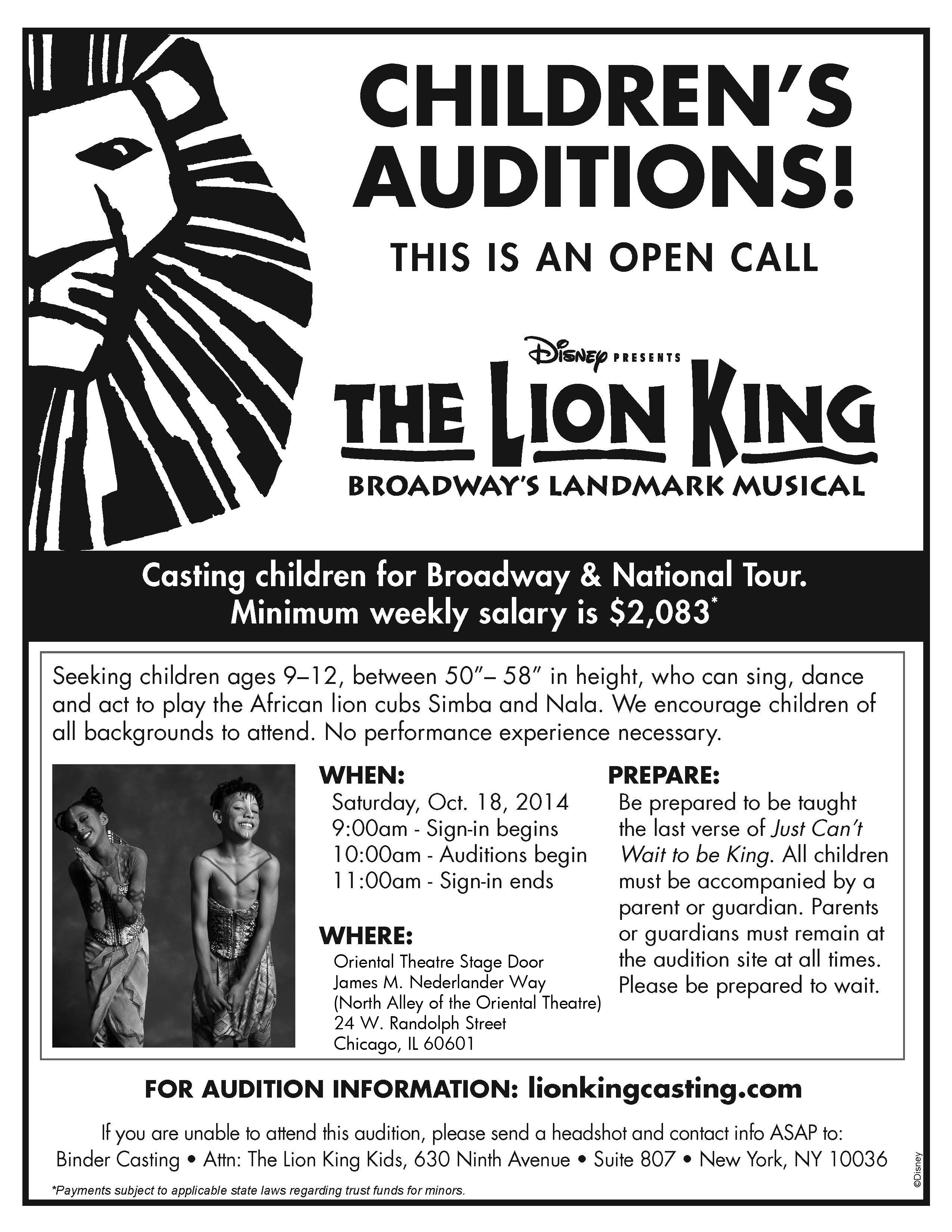 Casting Call The Lion King Children S Auditions In
